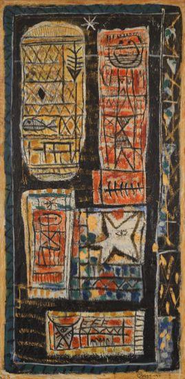 Roger Bissière, Grande Composition, 1947, peinture à l'oeuf sur papier marouflé sur toile, 162 X 81 cm, collection particulière © Jean-Louis Losi, Paris © ADAGP Paris 2014
