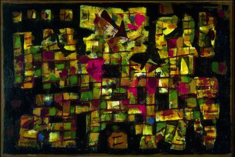 Roger Bissière, Voyage au bout de la nuit, 1955, collection particulière, Monaco, Courtesy Galerie Jaeger Bucher/Jeanne-Bucher, Paris © studio Muller © ADAGP Paris 2014