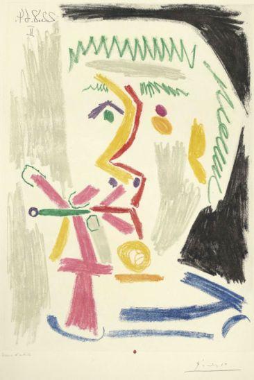 Pablo Picasso, Fumeur à la cigarette verte, 1970. Eau-forte, pointe sèche, grattoir, aquatinte. BnF dépôt des estampes et de la photographie, © Succession Picasso 2014.