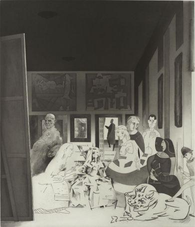 Richard Hamilton, Picasso's meninas, 1973, Eau-forte, aquatinte, roulette, brunissoir, BnF, déptartement des Estampes et de la photographie