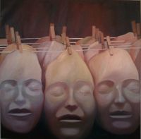 Mélanie Lefebvre, Masques, huile sur toile, 125x125cm, 2014
