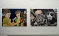 Mélanie Lefebvre, Serpent, huile sur toile, 150x208cm, 2014 et Procession, huile sur toile, 150x125cm, 2014