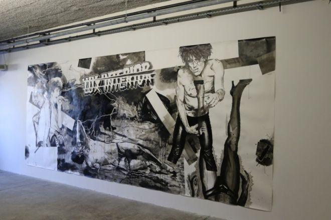 Ludovic Paquelier, Lux Interior, 2010. encre de chine sur papier, 600 x 250 cm - photo de Agnès Mellon