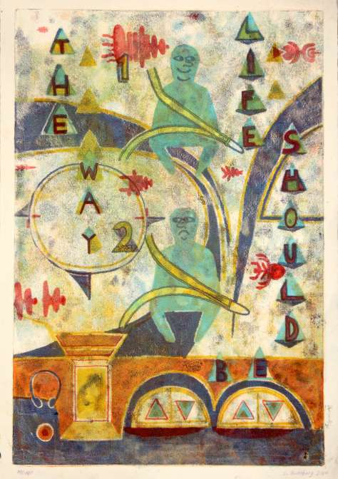 Leif Goldberg, The Way Life Should Be #2. monotype. 33 x 48,26 cm