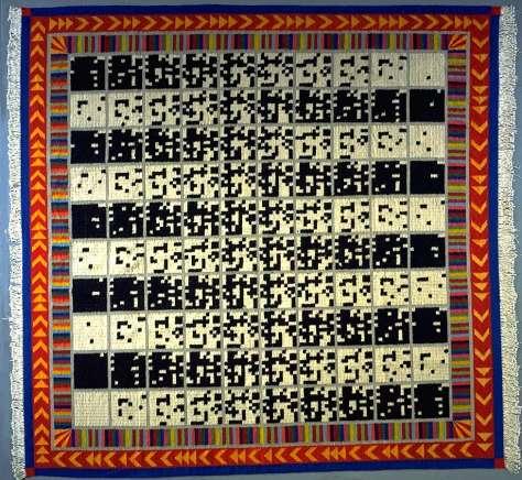 Alighiero Boetti, En alternant de 1 à 100 et vice et versa, 1993, tapis tissé en laine, 300 x 300 cm. Collection FRAC Languedoc-Roussillon © Adagp, Paris 2016. Photo © Jean-Luc Fournier