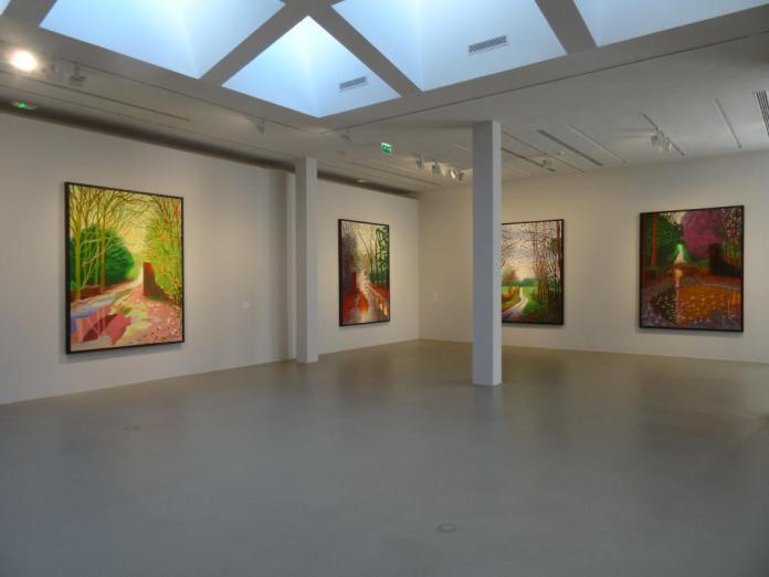 David Hockney, L'Arrivée du printemps. Vue de la salle d'exposition -Fondation Vincent van Gogh Arles