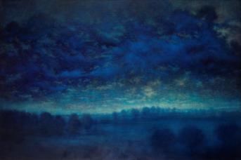 Albert Woda, Paysage aux creux de mes mains, 2015. Huile sur toile, 130 x 195 cm. © Marc Gourmelon ADAGP Paris 2016