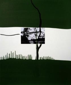 Joël Leick, Corps-Paysage, 2015. Huile, collage, photographie sur panneau en fibre de bois, 55 x 46 cm