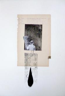 Joël Leick, La Nouvelle Astrée, 2015. Monotype imprimé sur manuscrit, collage, photographie sur BFK Rives blanc, 250 grs, 560 x 380 mm.