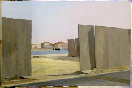 Philippe Pradalié, Installation portuaire, 1994. Huile sur toile, 130 x 195 cm. Musée Paul Valéry, Sète. © Gabrielle Voinot