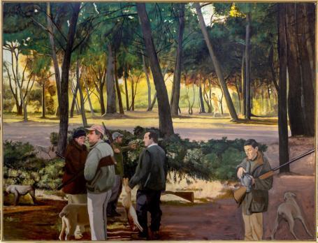 Philippe Pradalié, L'Hiver - Diane et les chasseurs, 2010. Huile sur toile, 205 x 270 cm. Collection particulière Gabrielle Voinot