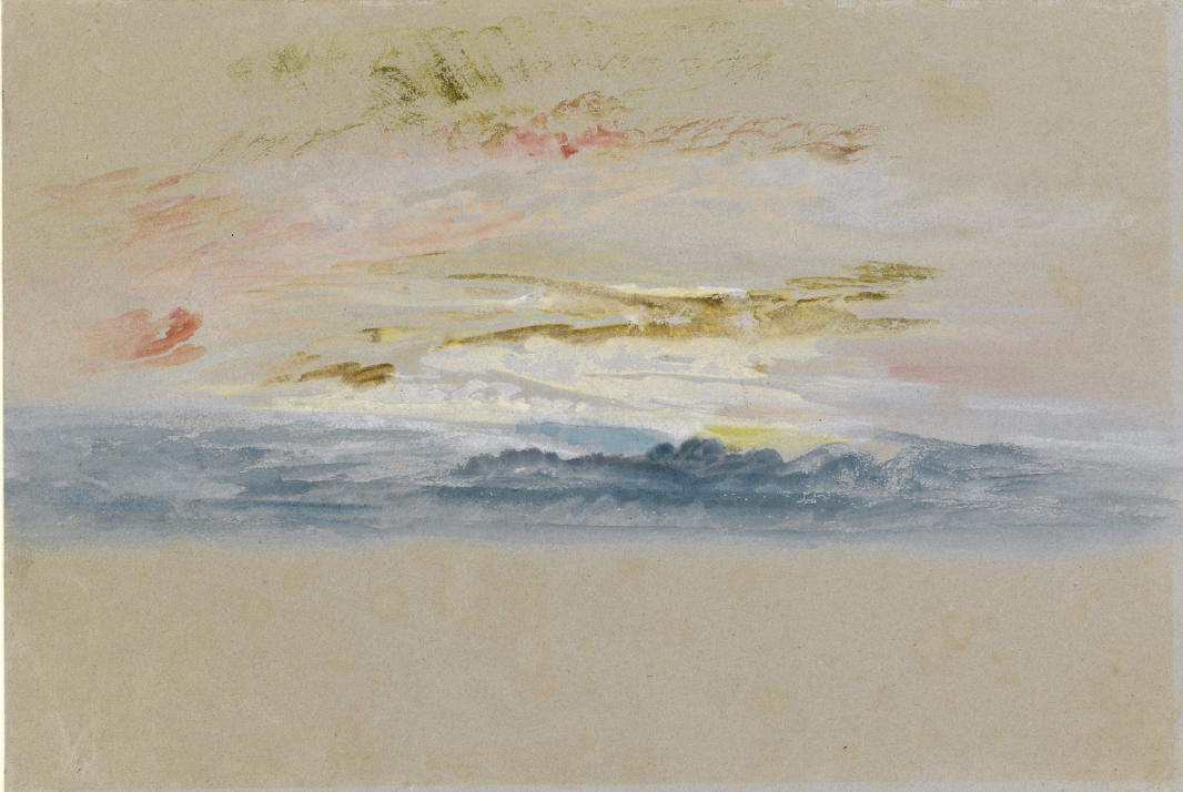 TURNER William (1775 - 1851) Coucher de soleil, vers 1840-1845 - Aquarelle et gouache sur papier gris - 178 x 264 mm - The Fitzwilliam Museum, Cambridge © The Fitzwilliam Museum, Cambridge