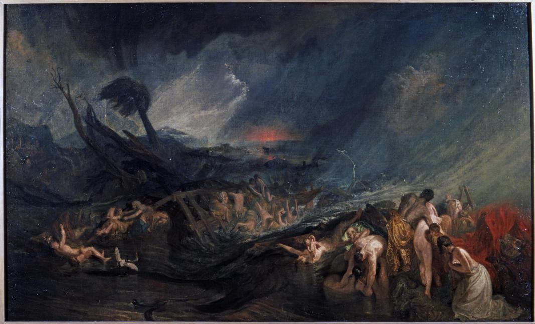 TURNER William (1775 - 1851) Le Déluge - Exposé dans la galerie du peintre, 1805 ? - Huile sur toile - 1429 x 2356 mm - Tate. Accepté par la nation dans le cadre du legs Turner, 1856 © Tate, London 2015