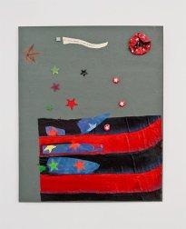 Les Possédés - Chapitre 2 - Jimmie Durham : Drapeau cheyenne, peinture et collage (feuille, canette de bière, capsule de bière) sur bois, 84 x 71 cm. Collection particulière