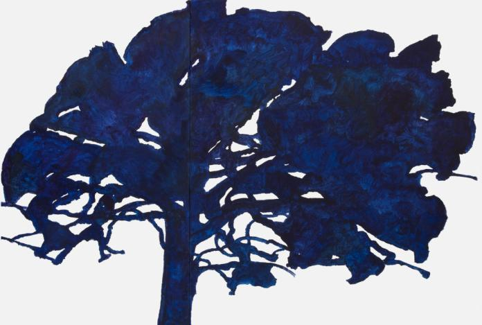 """Alexandre Hollan, """"Garde de Saint-Jean-d'Aumières"""", grand chêne, 2015-2016 Acrylique sur toile, H.180 x L.265 en deux parties Collection particulière © photo Illès Sarkantyu © ADAGP Paris 2016"""