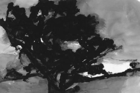 Alexandre Hollan, Grand chêne sur le plateau de Viols-le-Fort avant l'orage, 2009 Gouache, H.65 x L.100 cm Collection particulière Courtesy Galerie Marie Hélène de La Forest Divonne © photo Illès Sarkantyu © ADAGP Paris 2016