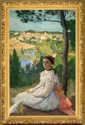 Frédéric Bazille, La Vue de village, 1868. Huile sur toile . 137,5 x 85,5 cm. Montpellier, musée Fabre. © Photo Frédéric Jaulmes