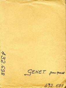 Couverture de la pochette du dossier de Genet aux Renseignements Généraux, © Archives de la Préfecture de Police. Tous droits réservés