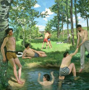Frédéric Bazille - Scène d'été 1869, huile sur toile, 161 x 161 cm - Harvard University Art Museums, Fogg Art Museum, Cambridge