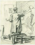 """Attribué à Jules le Cœur, Renoir peignant """"Paysage avec deux personnages» vers 1866. Fusain sur papier 29,8 x 22,6 cm Paris, collection particulière © Photo collection particulière"""