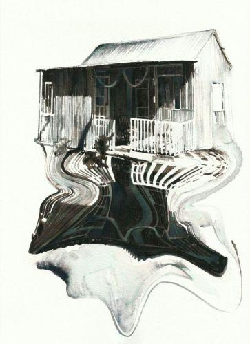 Katia Bourdarel, Cabane#5, 2015, encre et aquarelle, 30 x 21 cm (Galerie Dupré et Dupré)