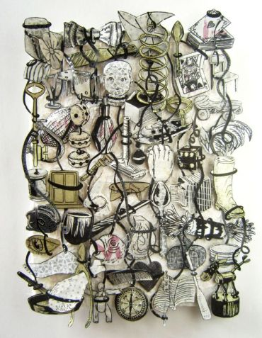 Jane Hammond, LooseTapestry Deck Of Cards, 2011, encre et feuille d'argent sur papiers, 47 x 39,5 x 6,5 cm - © Jane Hammond - courtesy galerie Lelong Paris