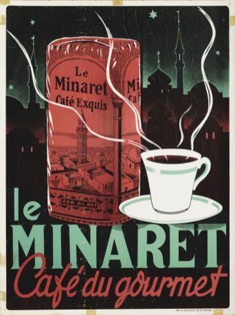 """Affiche publicitaire """"Le Minaret - Café du gourmet"""", XXe siècle, 62 x 47 cm. Fondation Malongo © François Fernandez"""