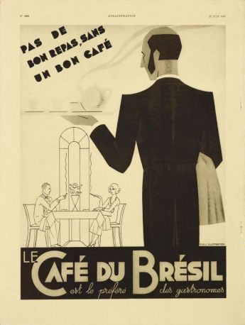"""Pas de bon repas sans un bon café"""", publicité publiée dans le journal l'Illustration de juin 1936, 38 x 28,5 cm. Fondation Malongo © François Fernandez"""