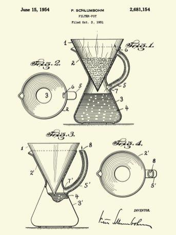 Peter Schlumbohm, Patent poster Filter pot, 1951, affiche de brevet d'invention, 61 x 45 cm. Chemex Coffee Maker © CHEMEX® Corporation. Massachusetts, USA