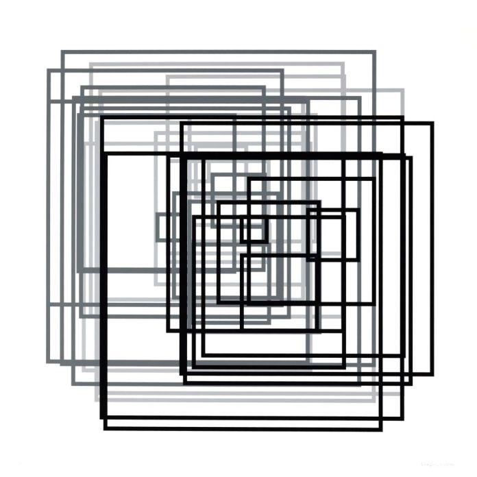 Vera Molnar, Java de 36 carrés (série A à F), 1974 – 2011 Série de six sérigraphies sur papier Vélin d'Arches 120 x 120 cm chaque Imprimeur : Atelier Arcay, Paris FNAC 2011-392 © Véra MOLNAR