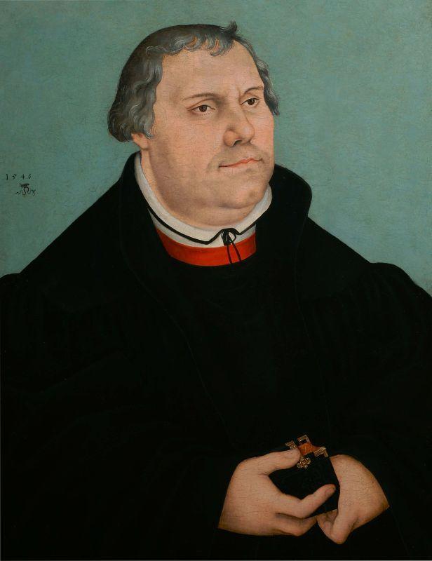 Lucas Cranach Le Jeune, Portrait de Martin Luther, 1546, huile sur bois, Musée international de la Réforme, Genève © Collection privée, Genève. En dépôt au Musée international de la Réforme