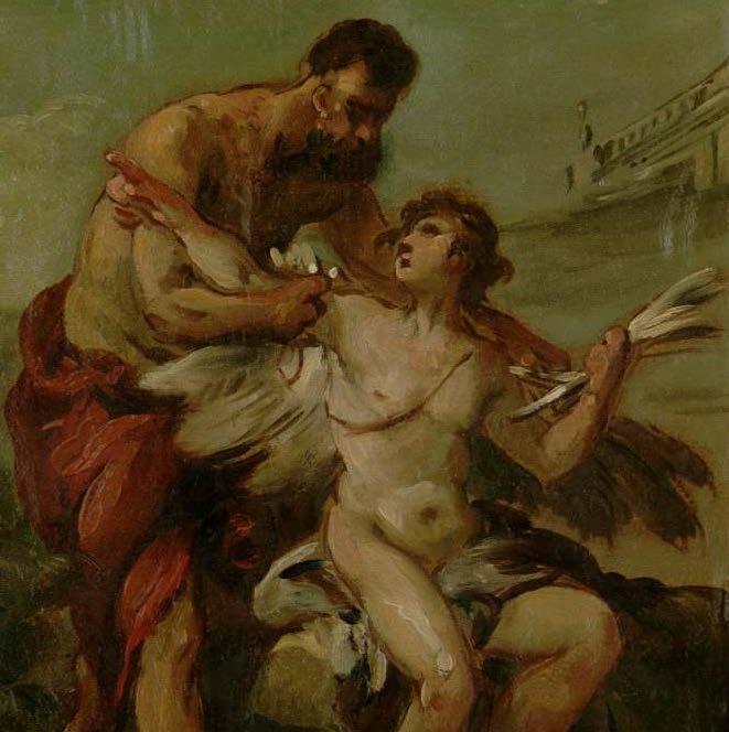 Joseph-Marie Vien, Dédale et Icare, Huile sur papier marouflé sur bois