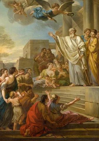 Joseph-Marie Vien, Saint Denis prêchant la Foi en France, esquisse, 1767, Huile sur toile, Montpellier, musée Fabre