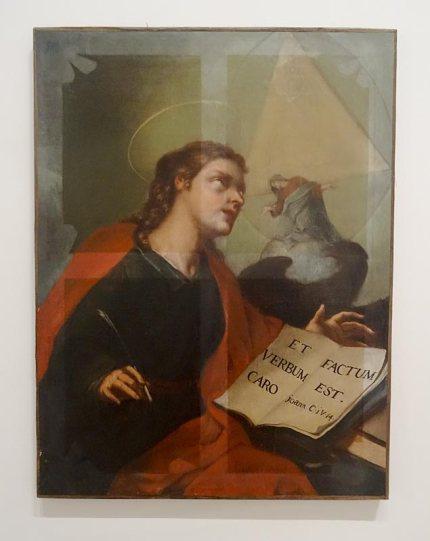 Fabrice Samyn, The medium is the message (1800-2008), 2008, intervention par dévernissage d'une huile sur toile, 80,5 x 63 cm
