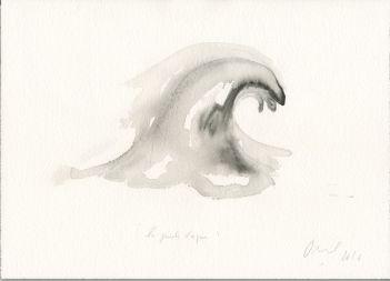 Jean-Michel Othoniel La Grande Vague, 2016 Aquarelle sur papier H : 26 x L : 36 cm. Collection de l'artiste.