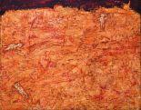 Jean Dubuffet Terre Orange aux Trois Hommes, mai 1953 Huile sur isorel, 114 x 146 cm © Dubuffet. Courtesy Galerie Jeanne Bucher Jaeger, Paris © ADAGP, Paris 2017 Photo : J-L. Losi