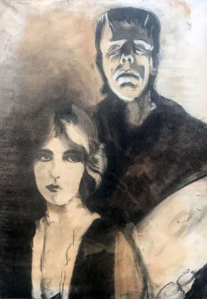 Cameron, Marie Shelley et Frankenstein, 1976, fusain sur papier. Collection Jean-Charles de Castelbajac - Drawing room 017