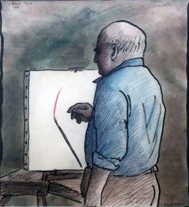 Roland Topor, Le coup de pinceau, 1978, 24 x 32 cm. Collection Jean-Charles de Castelbajac - Drawing room 017