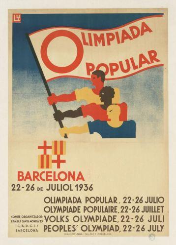 "Affiche Olimpiada popular 1936. BDIC Coll BDIC - Exposition ""Nous sommes Foot"" au Mucem - Marseille"