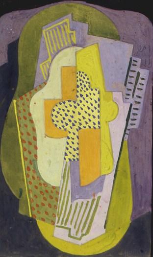 Albert Gleizes, Composition à la guitare, 27x17cm, gouache, papier, carton, 1922 - Collection Musée Estrine