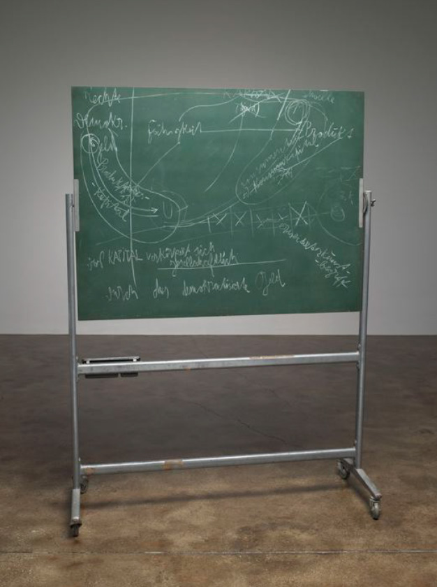 Joseph Beuys, Ecology and Socialism 1980. Chalk, blackboard, tray and metal stand - 189,9 x 138,4 x 61 cm