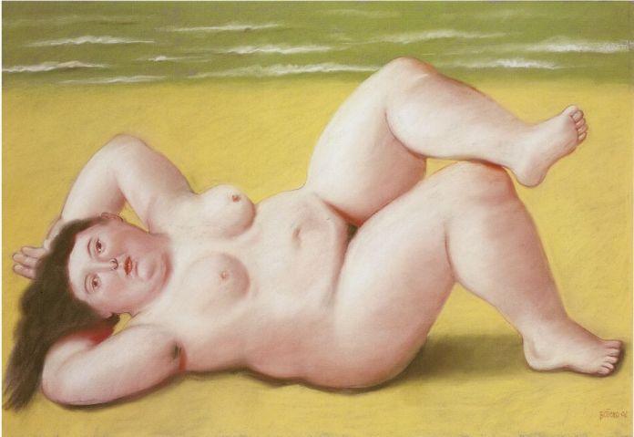Fernando Botero, Femme à la plage, 2002 Pastel sur toile 69 x 104 cm Collection privée © Fernando Botero
