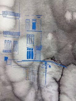 Hanane El Farissi, Détail dessin sur papier et feuille d'or. © Hanane EL Farissi