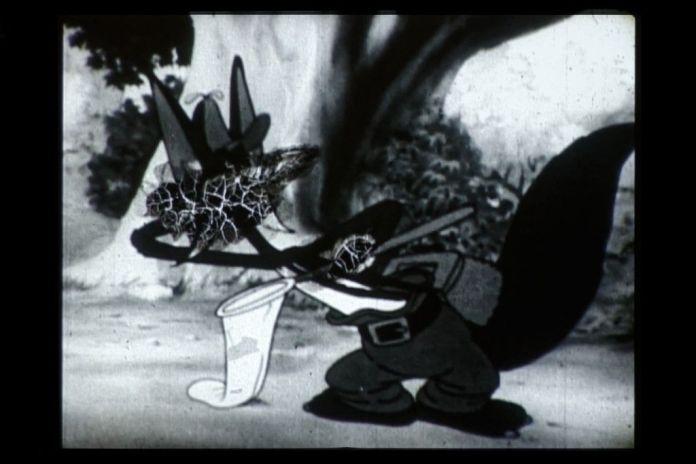 Hippolyte Hentgen,, The Hound and the rabbit (d'après Rudolph Ising), 2015 Série Le ruban instable Encre sur pellicule 16 mm numérisée, bande sonore Pierre-Yves Macé