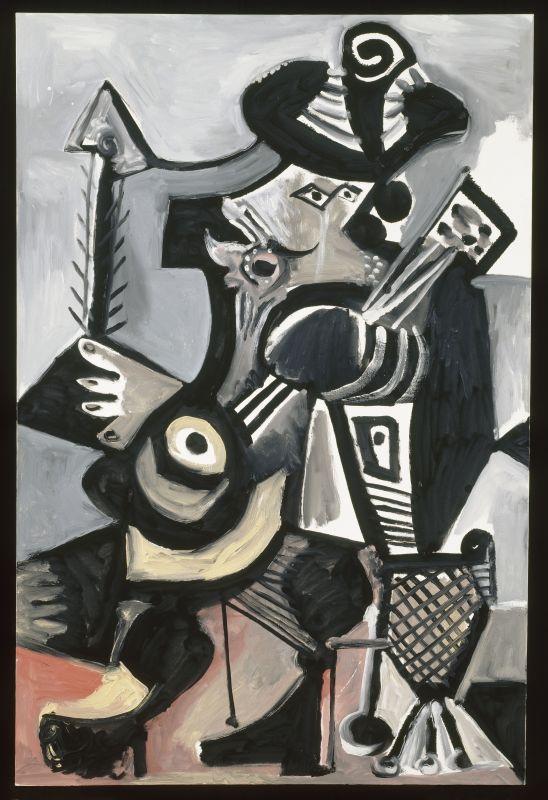 Pablo Picasso, Musicien, Mougin, 26 mai 1972 © Succession Picasso 2017 Huile sur toile 194,5 x 129,5 cm Musée national Picasso-Paris Dation Pablo Picasso 1979 MP229 © Succession Picasso 2017 © Photo : RMN-Grand Palais (Musée national Picasso-Paris) / Jean-Gilles Berizzi