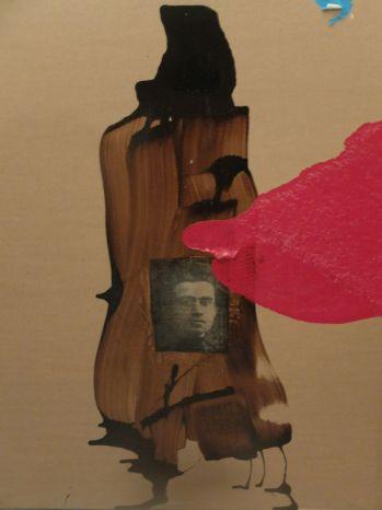Patrick Sainton, Antonio Gramsci, peinture et collage sur carton, 107x82,5cm