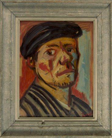 Pierre Tal Coat, Autoportrait [au béret], 1941 Huile sur papier marouflé sur carton 32,5 x 25,5 cm Collection particulière Photo: Xavier Demolon, © ADAGP Paris 2017