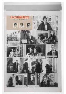 Raymond Cauchetier, première planche de la maquette du roman-photo La Cousine Bette , Paris, 1968. Carton, tirages photographiques collés. Collection Mucem © Raymond Cauchetier. Cliché : Mucem/Yves Inchierman