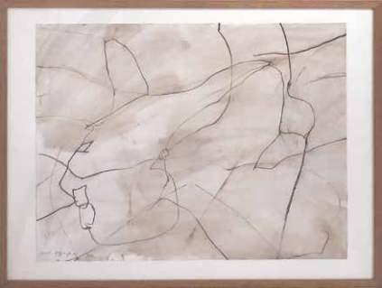 """Daniel Dezeuze """"La vie amoureuse des plantes"""", 1992 Lavis et pastel sur papier"""