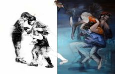 Mohamed Lekleti, Jeux d'enfants, 2016. technique mixte + taxidermie sur toile, Dyptique 2 x 162 x130 cm